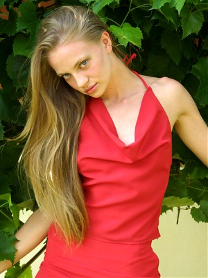 Teen in red